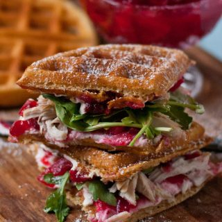 Waffled Cranberry Cream Cheese Turkey Sandwiches