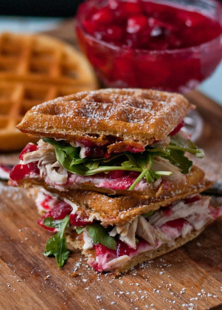 Waffled Cranberry Turkey Sandwiches | Leftover Turkey Recipes To Extend Your Thanksgiving Celebration