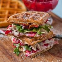Waffled Cranberry Cream Cheese Turkey Sandwiches #SundaySupper