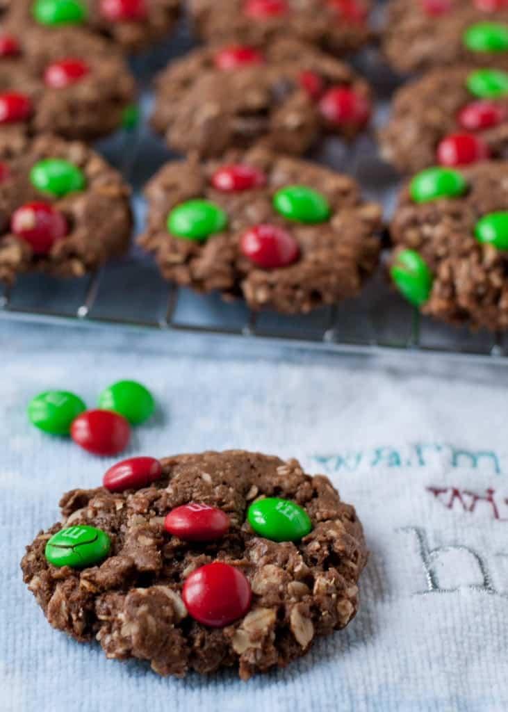Chocolate Christmas Monster Cookies   Neighborfoodblog.com