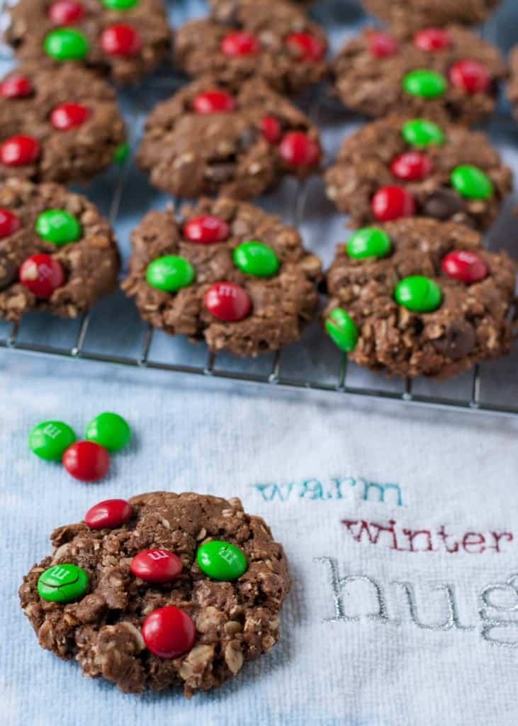 Chocolate Christmas Monster Cookies | Neighborfoodblog.com