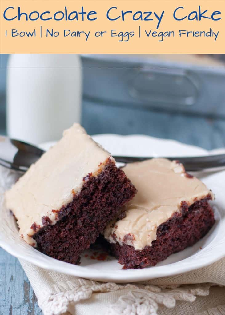 Chocolate Crazy Cake with Caramel Frosting | Neighborfoodblog.com  This one bowl, no mixer, vegan chocolate cake is the best you''ll ever eat!
