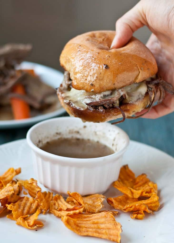 Slow Cooker Beef Brisket French Dip Sandwiches- An easy comfort food dinner that hits the spot on winter nights!
