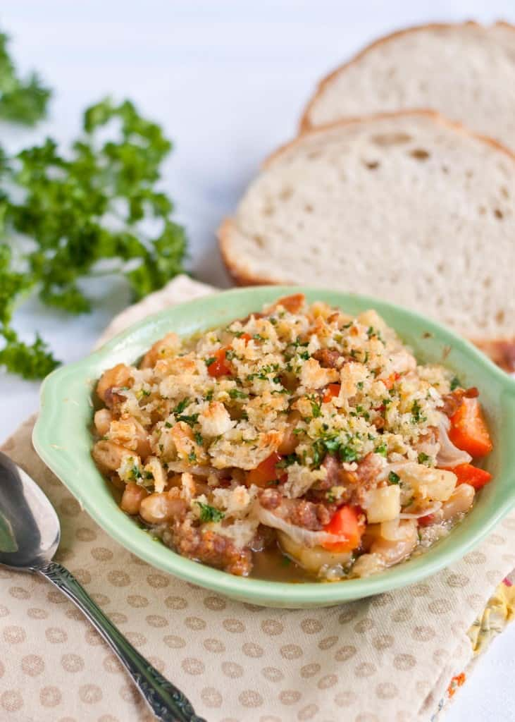 Simple Cassoulet with Garlic Breadcrumb Topping | Neighborfoodblog.com