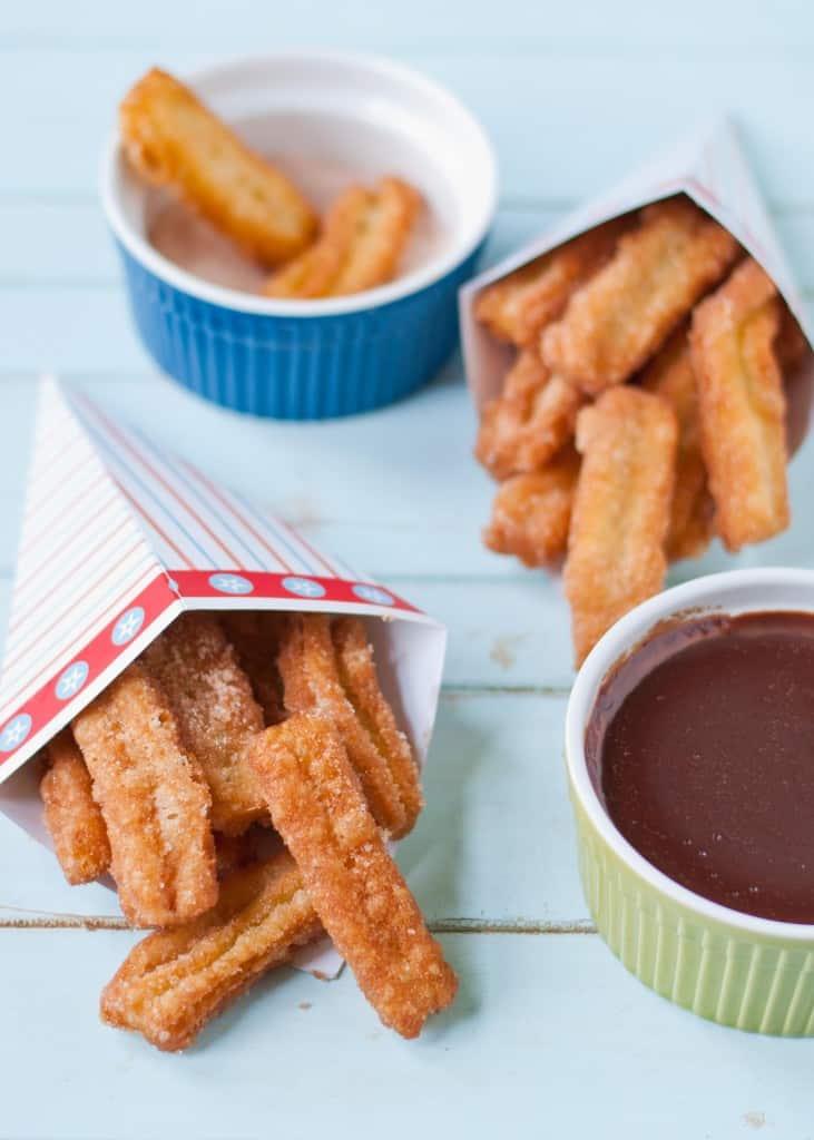 Cinnamon Sugar Churros and Chocolate   Neighborfoodblog.com