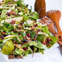 Caramelized Onion, Pear, and Goat Cheese Salad with Maple Vinaigrette