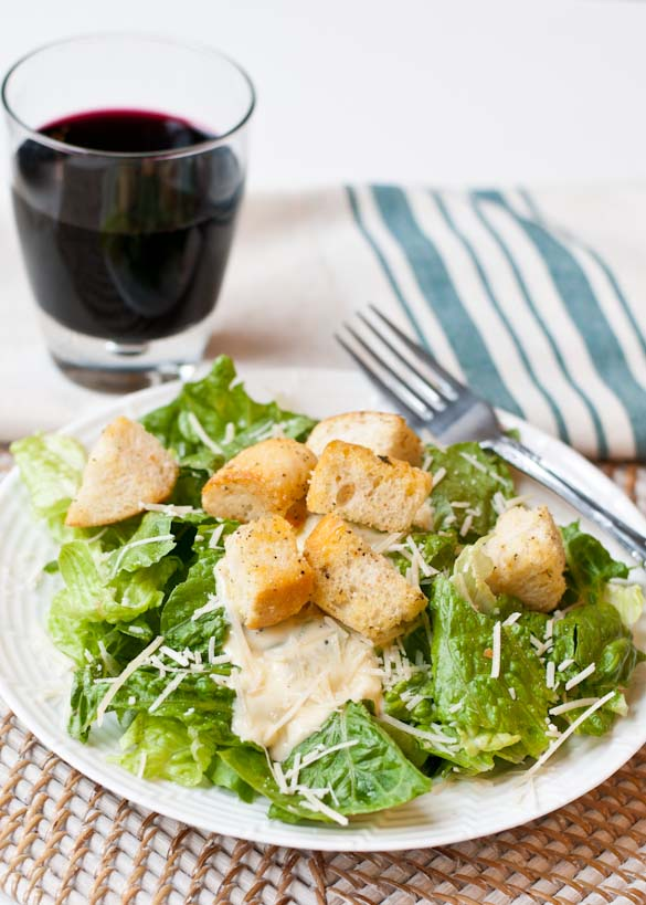 Easy Caesar Salad with Homemade Dressing from Neighborfoodblog.com