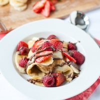 Ice Cream Stuffed Crepes with Nutella and Fresh Berries #SundaySupper