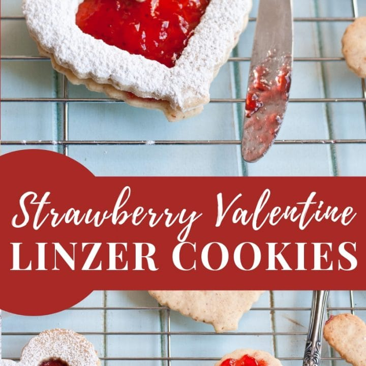 Heart Shaped Strawberry Linzer Cookies