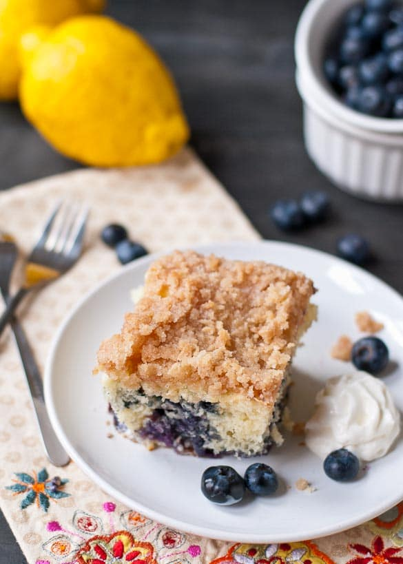 Blueberry Buckle Coffee Cake | A super easy coffee cake bursting with blueberries and scented with lemon zest.