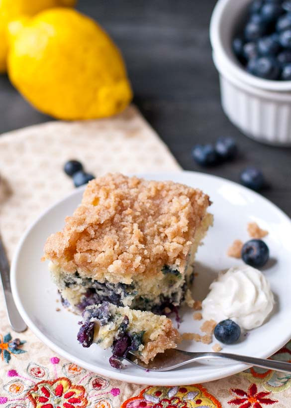 Blueberry Buckle Coffee Cake | This tender coffee cake is packed with blueberries and lemon zest with a sweet cinnamon sugar topping.