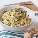 Creamy Parmesan Leek and Mushroom Pasta #SundaySupper