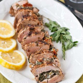 Mediterranean Stuffed Balsamic and Herb Pork Loin #PinkPork