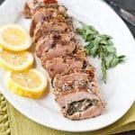 Mediterranean Stuffed Balsamic and Herb Pork Tenderloin #PinkPork