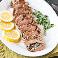 Mediterranean Stuffed Balsamic and Herb Pork Tenderloin