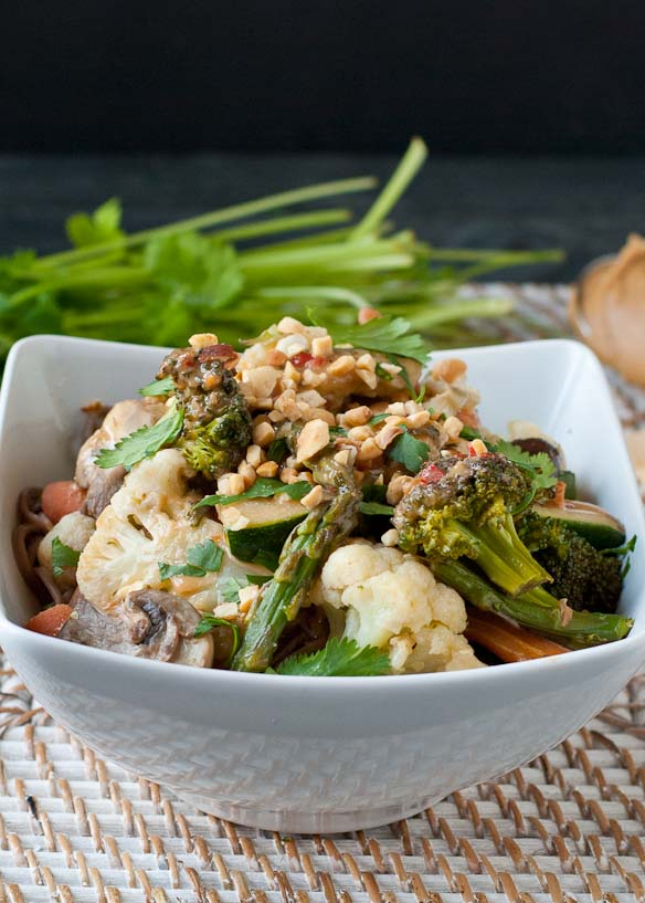 Vegetarian Noodle Bowl with Spicy Peanut Sauce (Includes gluten free option!)