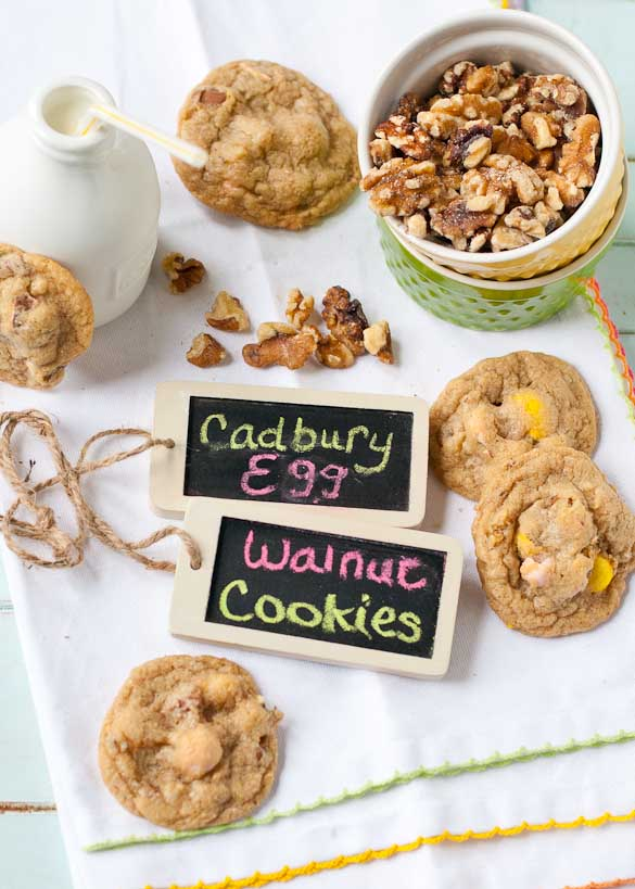 Mini Cadbury Egg Walnut Cookies | Neighborfoodblog.com