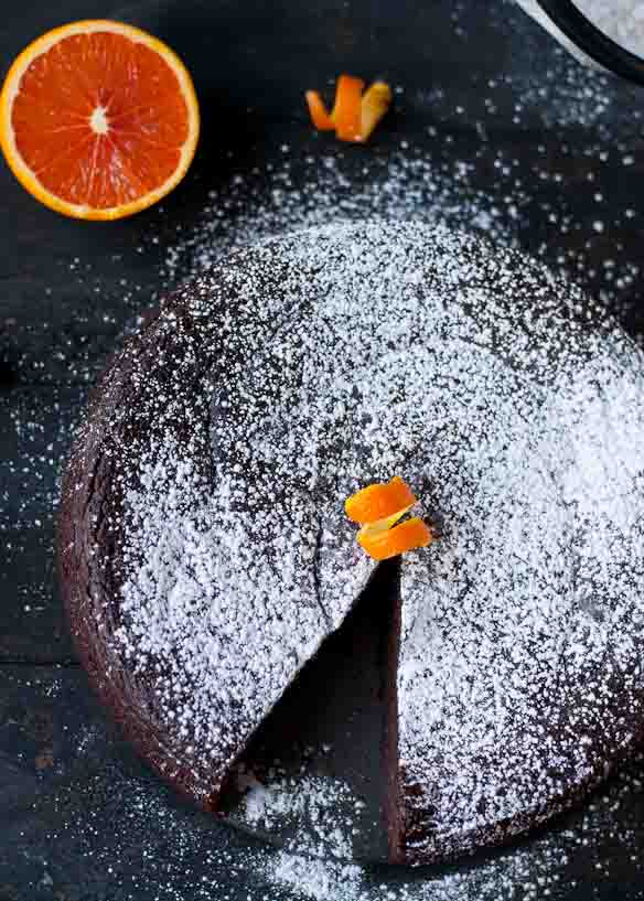 Made with simple ingredients in the blender, this Flourless Chocolate Orange Cake is an easy, stunning dessert!