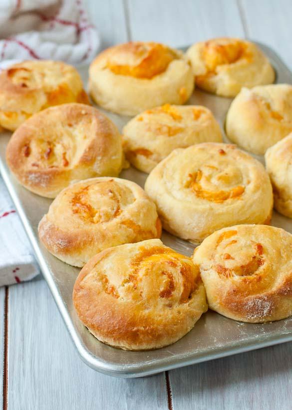 Garlic Cheddar Swirled Brioche Rolls | Neighborfoodblog.com