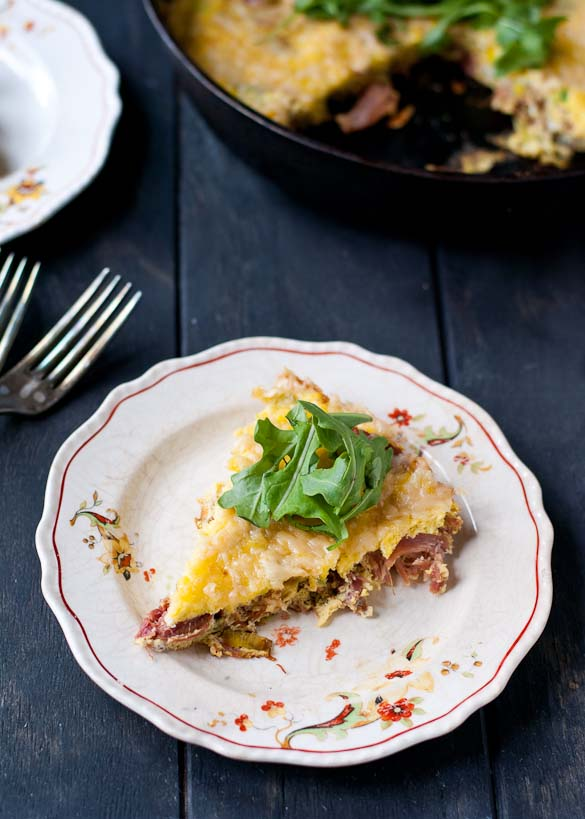 Ham and Leek Frittata with Arugula from Neighborfoodblog.com