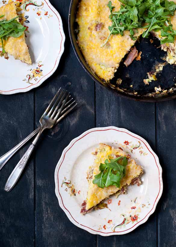 Ham and Leek Frittata with Arugula | Neighborfoodblog.com #20minutemeal #onepanmeal