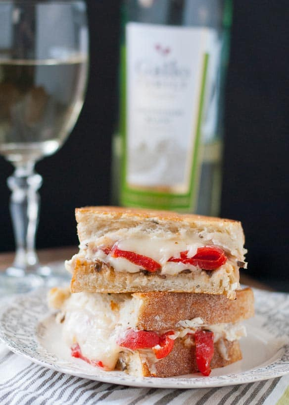 Roasted Red Pepper, Feta, and Olive Grilled Cheese | Neighborfoodblog.com