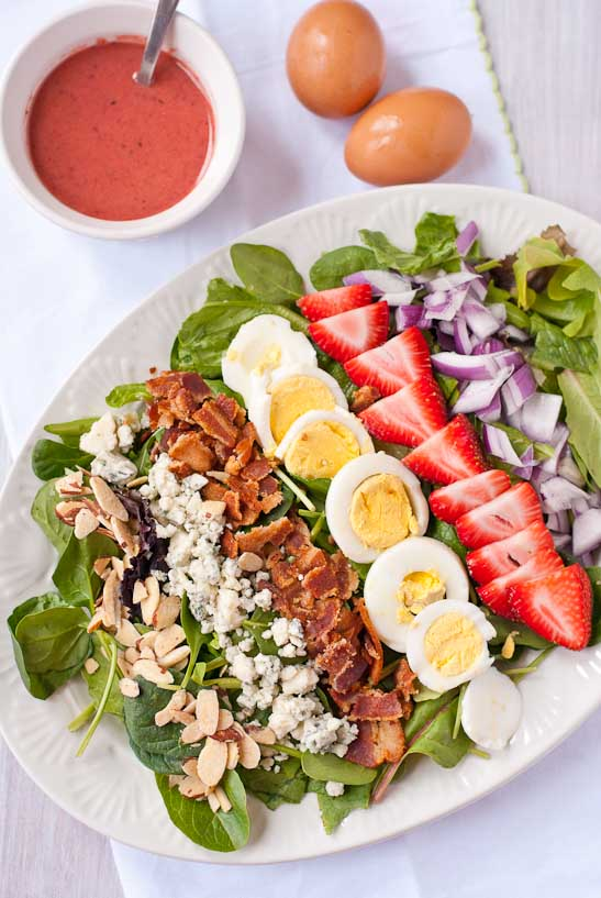 Strawberry Cobb Salad with Strawberry Bacon Vinaigrette | Neighborfoodblog.com #glutenfree #salad