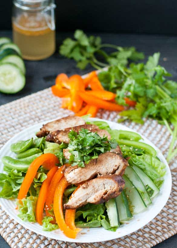This Asian Sesame Chicken Salad is a light, gluten free option for a hot summer day.