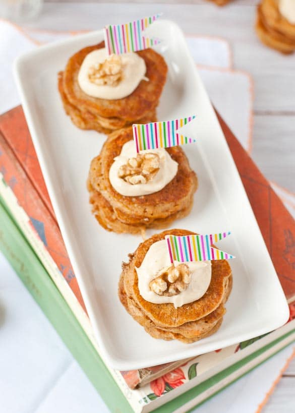 Mini Carrot Cake Pancake Stacks with Cream Cheese Frosting | Neighborfoodblog.com