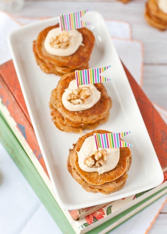 Mini Carrot Cake Pancake Stacks with Cream Cheese Frosting | Neighborfoodblog.com