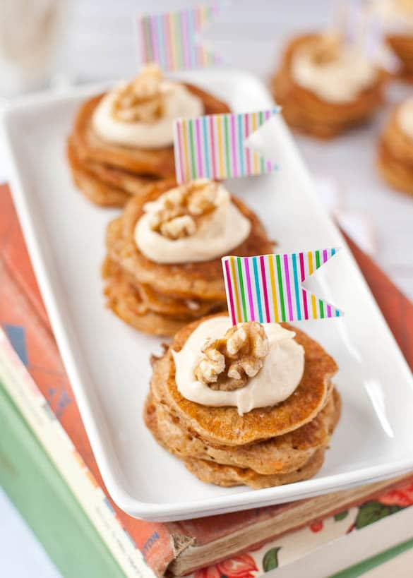 Carrot Cake Pancake Stack with Cream Cheese Frosting - An adorable addition to a weekend brunch!