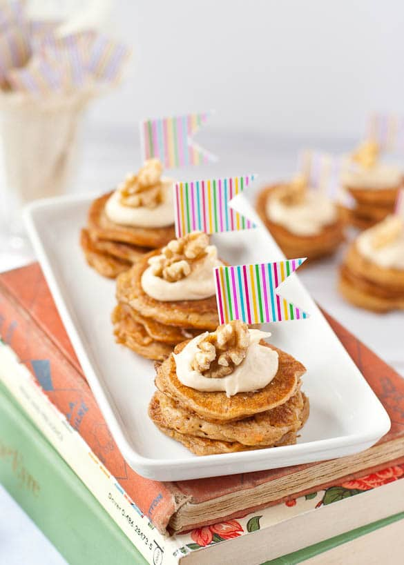 Mini Carrot Cake Pancake Stacks for a weekend brunch party.