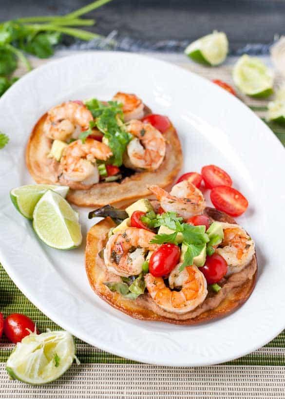 Margarita Shrimp Tostadas- Lime, tequila, and cilantro add zest to these shrimp tostadas!