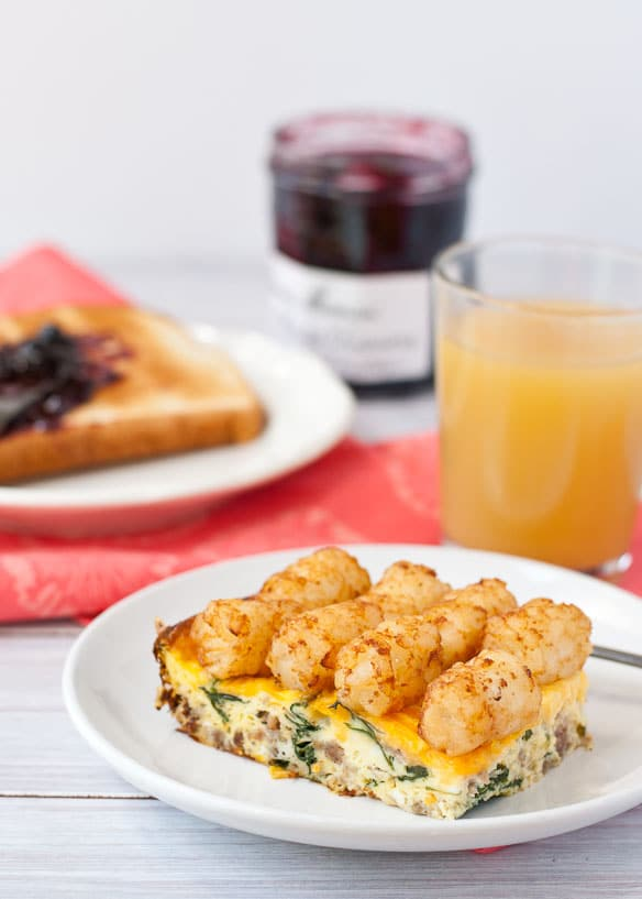 Cheesy Sausage, Spinach, and Tater Tot Casserole-- A great make ahead breakfast casserole!