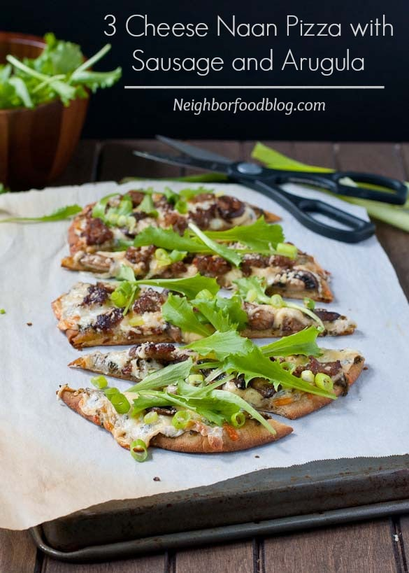 Easy Naan Pizza with Mushrooms, Sausage, and Arugula #SundaySupper #ChooseDreams