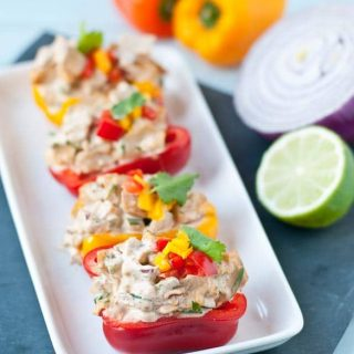 Tex Mex Chicken Salad Stuffed Bell Peppers