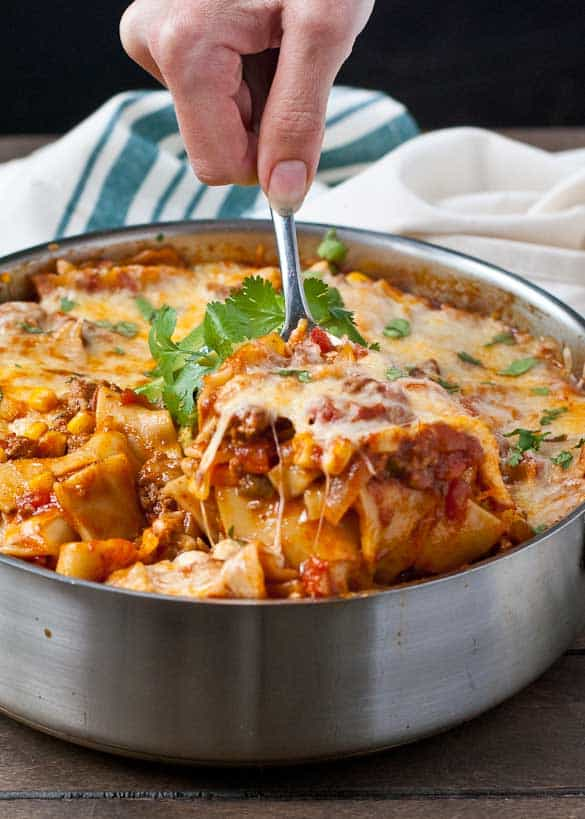 Cheesy Enchilada Skillet Lasagna-- made in under an hour in a single skillet!
