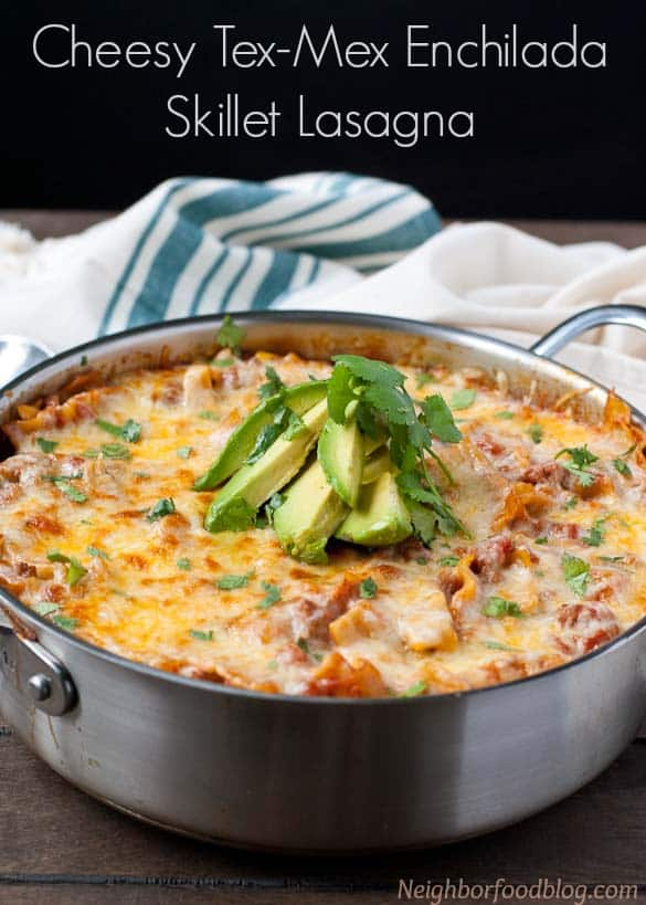 This Cheesy Tex-mex inspired lasagna is made in a single skillet! #SundaySupper #ChooseDreams