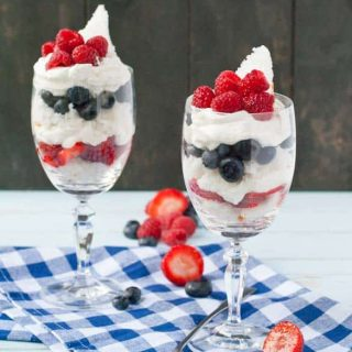 Red, White, and Blue Berry Angel Food Cake Parfaits