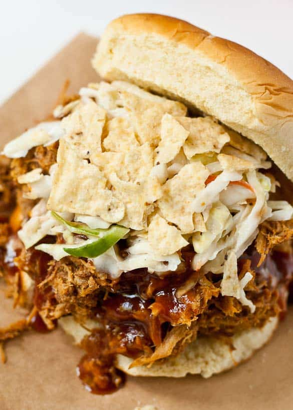 Easy Crock Pot Pulled Pork-- Just 10 minutes prep is all you need to make tender, sweet and spicy pork!