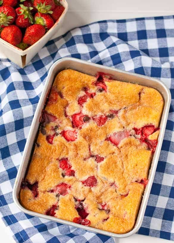 Strawberry Chocolate Chip Cobbler- quite possibly the perfect summer dessert.