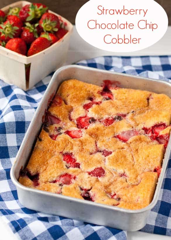 Studded with strawberries and chocolate chips, this cobbler is perfect for summer gatherings.
