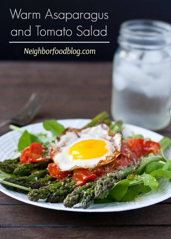 Warm Asparagus and Tomato Salad with a Fried Egg