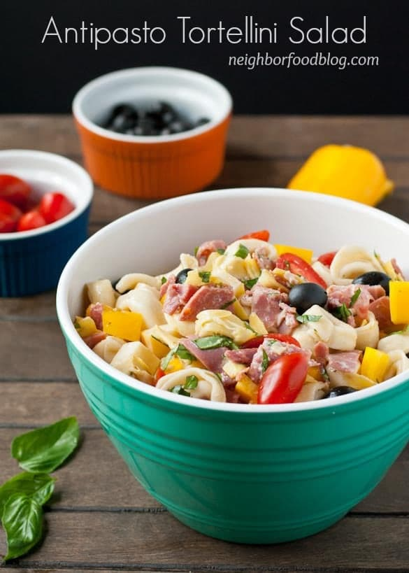 Salami, ham,  cheese, and veggies make up this robust Antipasto Tortellini Salad.