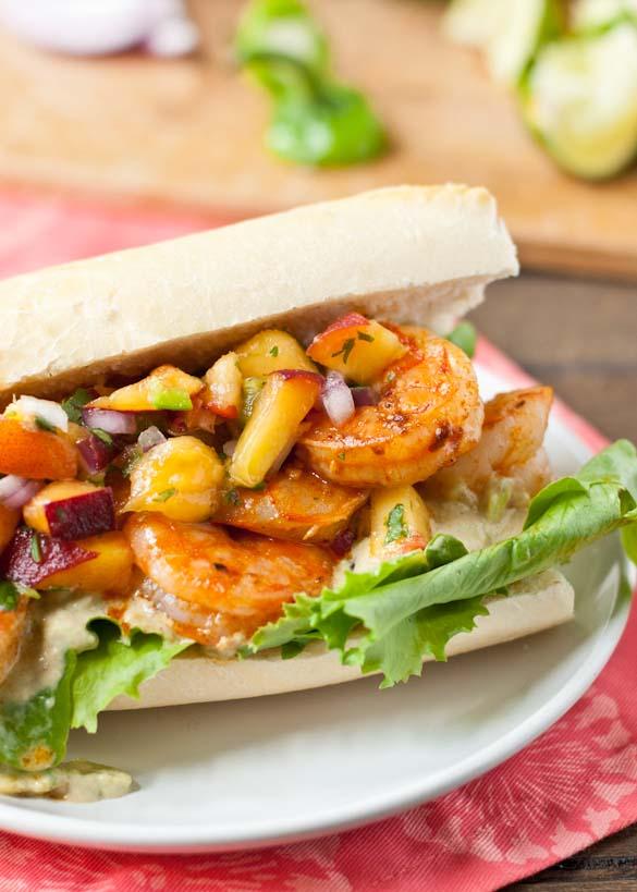 Chipotle Shrimp + Avocado Mayo+ jalapeno Peach Salsa makes one killer sandwich.