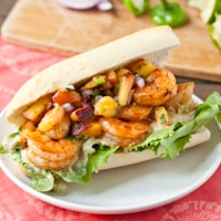 Chipotle Shrimp Sandwiches with Jalapeno Peach Salsa and Avocado Mayo thumbnail