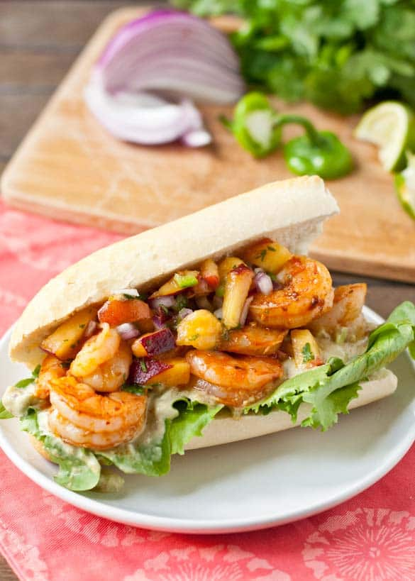 Chipotle Shrimp Sandwiches with Jalapeno Peach Salsa
