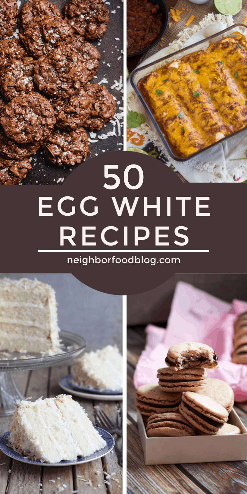 Four images of recipes using egg whites in a collage