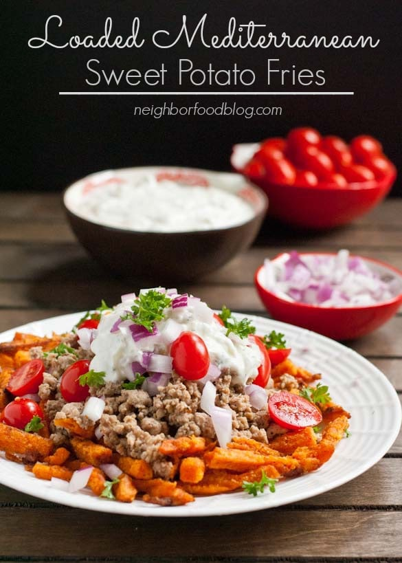 Loaded Mediterranean Sweet Potato Fries