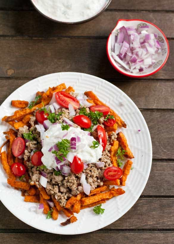 These Loaded Mediterranean Sweet Potato Fries are healthy comfort food!